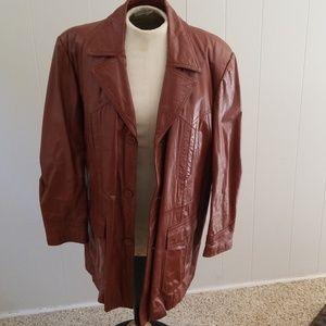 Leather mens vintage coat jacket 48L size